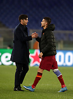 Football Soccer: Europa League -Round of 16 1nd leg AS Roma vs FC Shakhtar Donetsk, Olympic Stadium. Rome, Italy, March 11, 2021.<br /> Roma's coach Paulo Fonseca (L) celebrates with captain Lorenzo Pellegrini (R) after winning 3-0 the Europa League football soccer match between Roma and  Shakhtar Donetsk at Olympic Stadium in Rome, on March 11, 2021.<br /> UPDATE IMAGES PRESS/Isabella Bonotto