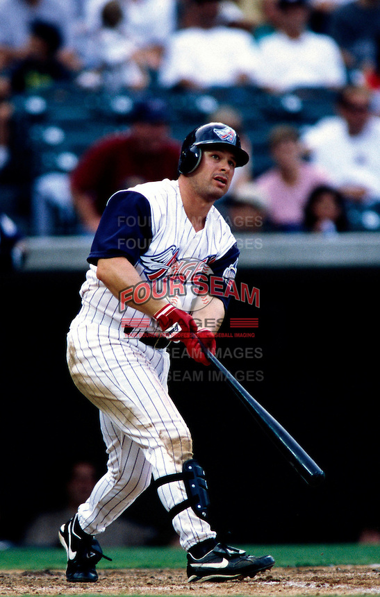 Greg Jeffries of the Anaheim Angels plays in a baseball game at Edison International Field during the 1998 season in Anaheim, California. (Larry Goren/Four Seam Images)