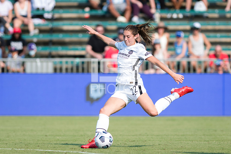 CARY, NC - SEPTEMBER 12: Morgan Weaver #22 of the Portland Thorns takes a shot during a game between Portland Thorns FC and North Carolina Courage at WakeMed Soccer Park on September 12, 2021 in Cary, North Carolina.
