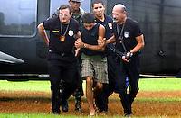 Raifran das Neves Sales o Fogoió,  Clodoaldo Carlos Batista conhecido como Eduardo e Tato, são presos em Anapú pela polícia civil pelo del Gilvandro Furtado e apresentados a imprensa.<br /> Anapú, Pará, Brasil.<br /> Foto Cadu Gomes.<br /> 21/02/2005
