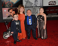 "Warwick Davis, Samantha Davis & Family at the world premiere for ""Star Wars: The Last Jedi"" at the Shrine Auditorium. Los Angeles, USA 09 December  2017<br /> Picture: Paul Smith/Featureflash/SilverHub 0208 004 5359 sales@silverhubmedia.com"