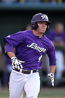 Josh Gonzales #4 of the TCU Horned Frogs runs the bases against the UCLA Bruins at the Los Angeles super regionals at Jackie Robinson Stadium on June 9, 2012 in Los Angeles,California. UCLA defeated TCU 4-1.(Larry Goren/Four Seam Images)