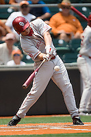 Outfielder Max White #7 of the Oklahoma Sooners swings against the Texas Longhorns in NCAA Big XII baseball on May 1, 2011 at Disch Falk Field in Austin, Texas. (Photo by Andrew Woolley / Four Seam Images)