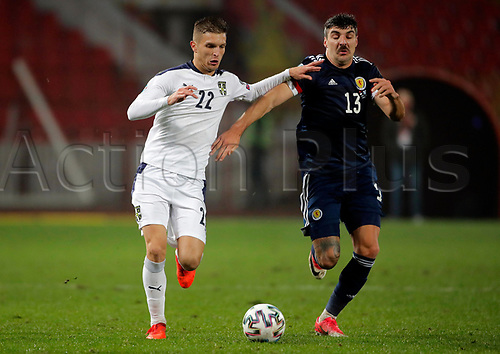 12th November 2020; Belgrade, Serbia; European International Football Playfoff Final, Serbia versus Scotland;  Serbias Darko Lazovic  vies with Scotlands Callum Paterson