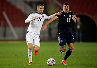 12th November 2020; Belgrade, Serbia; European International Football Playfoff Final, Serbia versus Scotland;  Serbias Darko Lazovic  vies with Scotlands Callum Paterson