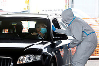 Due to the Covid-19 pandemic, drive-through (drive-in) pharyngeal and nasal swabs are available in many spots in Rome.<br /> Rome (Italy), December 4th 2020<br /> Photo Samantha Zucchi Insidefoto