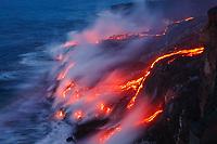 Laeapuki ocean entry, Hawaii Volcanoes National Park, Big Island, Hawaii, USA, Pacific Ocean