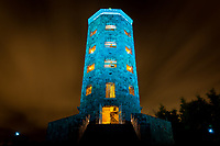 Duluth's Enger Tower was specially lit in teal to raise awareness about, and remember those whose lives have been touched by, ovarian cancer.