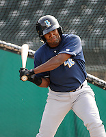 Infielder Deivy Batista (11) of the Wilmington Blue Rocks, Carolina League affiliate of the Kansas City Royals, prior to a game against the Lynchburg Hillcats on June 15, 2011, at City Stadium in Lynchburg, Va. (Tom Priddy/Four Seam Images)