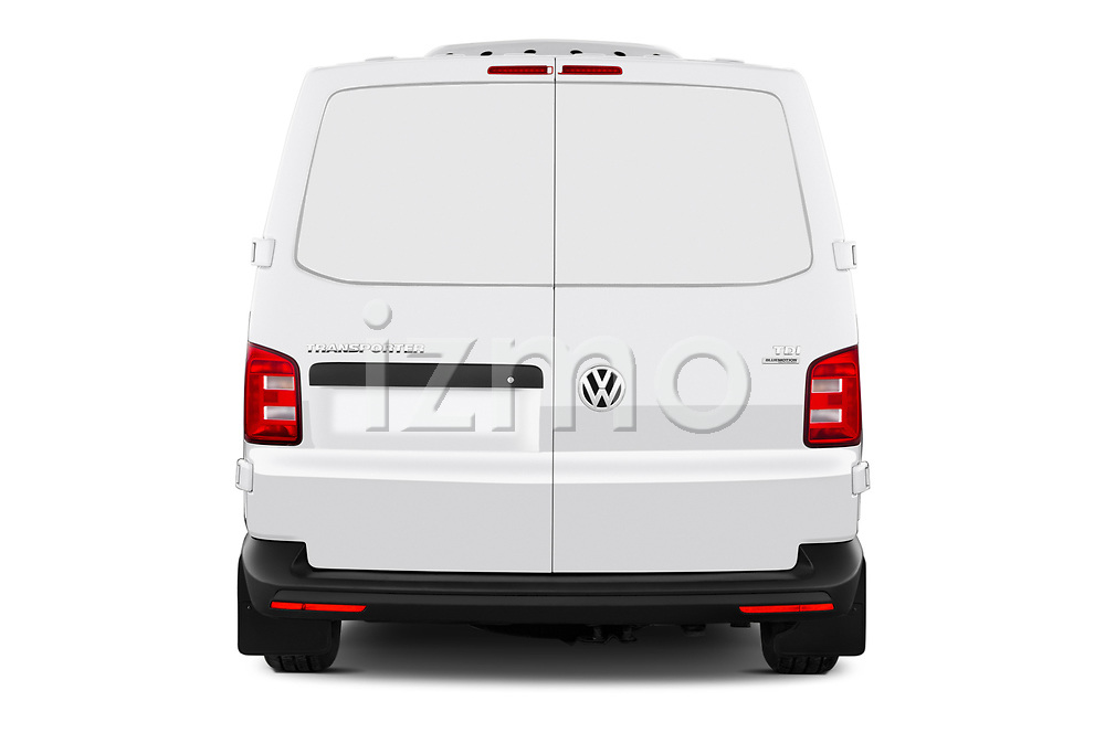 Straight rear view of a 2018 Volkswagen Transporter Base 4 Door Pick Up stock images