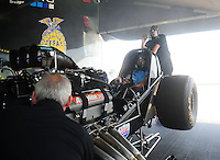 Apr. 29, 2011; Baytown, TX, USA: NHRA funny car driver Brian Thiel warms up in the pits during qualifying for the Spring Nationals at Royal Purple Raceway. Mandatory Credit: Mark J. Rebilas-