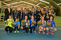 Rotterdam, The Netherlands, 15.03.2014. NOJK 14 and 18 years ,National Indoor Juniors Championships of 2014, Trophy giving on court, all the winners and runners up <br /> Photo:Tennisimages/Henk Koster
