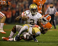 The eighth ranked Clemson Tigers defeat the Georgia Tech Yellow Jackets at Death Valley 55-31 in an ACC matchup.  Georgia Tech Yellow Jackets quarterback Vad Lee (2), Clemson Tigers linebacker Stephone Anthony (42)