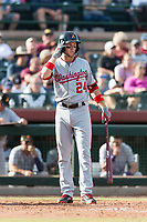 Salt River Rafters second baseman Carter Kieboom (24), of the Washington Nationals organization, at bat during the Arizona Fall League Championship Game against the Peoria Javelinas at Scottsdale Stadium on November 17, 2018 in Scottsdale, Arizona. Peoria defeated Salt River 3-2 in 10 innings. (Zachary Lucy/Four Seam Images)