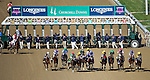 LOUISVILLE, KY - MAY 06: The field leaves the starting gate and passes the grandstand during the Kentucky Oaks on May 6, 2016 in Louisville, Kentucky. (Photo by Joan Fairman Kanes/Eclipse Sportswire/Getty Images)