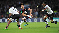 Henry Slade of England passes during the Old Mutual Wealth Series match between England and Fiji at Twickenham Stadium on Saturday 19th November 2016 (Photo by Rob Munro)