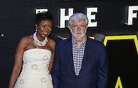 George Lucas and Melody Hobson attend the STAR WARS: 'The Force Awakens' EUROPEAN PREMIERE at Odeon, Empire & Vue Cinemas, Leicester Square, England on 16 December 2015. Photo by David Horn / PRiME Media Images