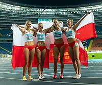 2nd May 2021; Silesian Stadium, Chorzow, Poland; World Athletics Relays 2021. Day 2; Polish women Lesiewicz , Holub-Kowalik, Lozowska and Kaczmarek celebrate together after finishing second and winning silver in the women's 4 x 400 final