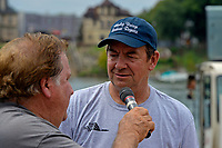 """Jim LaBrie, GP-111 """"Advance United"""" (1980 Grand Prix class Lauterbach hydroplane) is interviewed by Richard Delsner."""