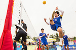 WI Seonguk of Korea Republic plays a shot against Malaysia the Beach Sepaktakraw Men's team competition on Day Eight of the 5th Asian Beach Games 2016 at My Khe Beach on 01 October 2016, in Danang, Vietnam. Photo by Marcio Machado / Power Sport Images