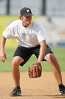 Ryan Peisel of the Modesto Nuts during game against the Lancaster JetHawks at Clear Channel Stadium in Lancaster,California on July 15, 2010. Photo by Larry Goren/Four Seam Images
