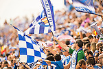 Supporters of Deportivo Leaganes waves flags during their La Liga match between Deportivo Leganes and FC Barcelona at the Butarque Municipal Stadium on 17 September 2016 in Madrid, Spain. Photo by Diego Gonzalez Souto / Power Sport Images