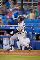 Tampa Tarpons right fielder Dom Thompson-Williams (21) during a game against the Dunedin Blue Jays on June 2, 2018 at Dunedin Stadium in Dunedin, Florida.  Dunedin defeated Tampa 4-0.  (Mike Janes/Four Seam Images)