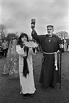 Avebury Wiltshire, Druid wedding blessings. 1996. Blessing sacred bread. Emma Restall Orr high priestess of the British Druid Order  and Septimius Bron bless a loaf and mead cup before being passed around the assembled gathering.