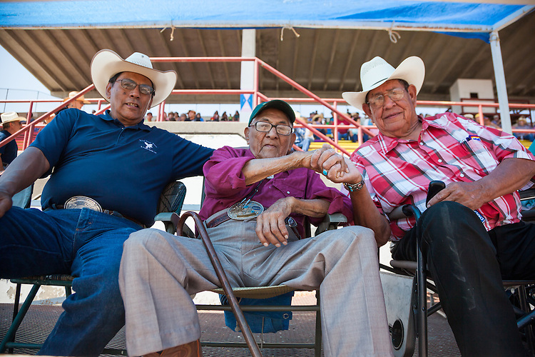 Joe Medicine Crow with family members at the 2013 Crow Fair Rodeo