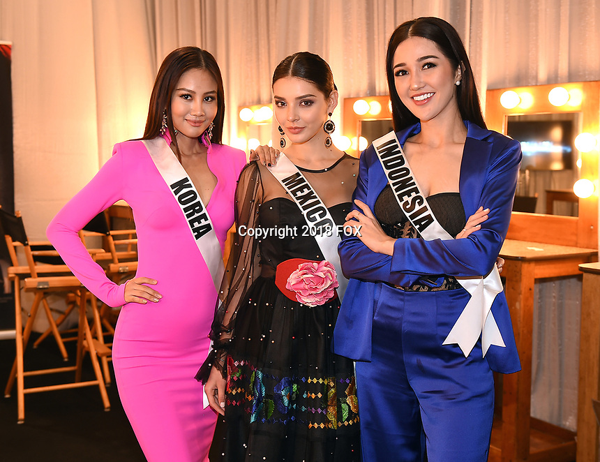 BANGKOK, THAILAND - DECEMBER 15: 2018 MISS UNIVERSE: L-R: Miss Korea Ji Hyun Baek, Miss Mexico Andrea Toscano and Miss Indonesia Sonia Fergina Citra  during rehearsals for the 2018 MISS UNIVERSE competition at the Impact Arena in Bangkok, Thailand on December 15, 2018. Miss Universe will air live on Sunday, Dec. 16 (7:00-10:00 PM ET live/PT tape-delayed) on FOX.  (Photo by Frank Micelotta/FOX/PictureGroup)