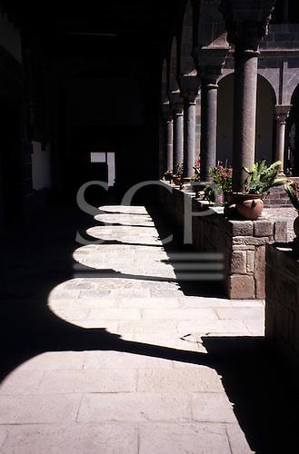 Cusco, Peru. Cloister around courtyard in Santo Domingo Church built on Koricancha on Avenida Sol.