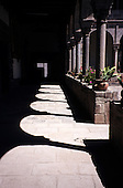 Cusco, Peru. Cloister around courtyard in Santo Domingo Church built on Koricancha on Avenida Sol.