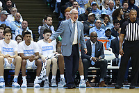 CHAPEL HILL, NC - FEBRUARY 25: Head coach Roy Williams of the University of North Carolina during a game between NC State and North Carolina at Dean E. Smith Center on February 25, 2020 in Chapel Hill, North Carolina.