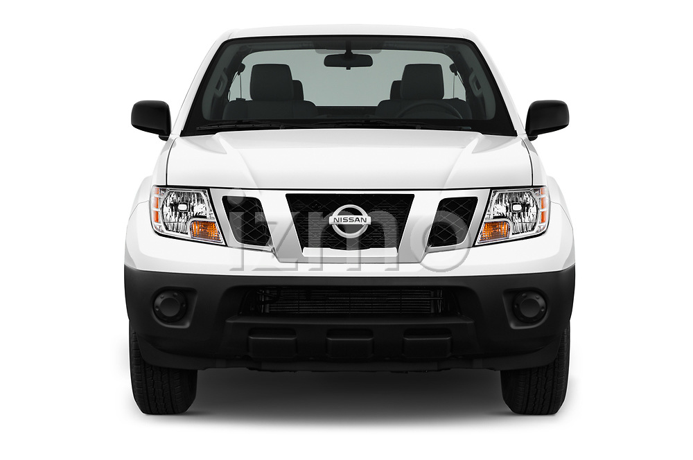 Car photography straight front view of a 2018 Nissan Frontier S-King-Cab 4 Door Pickup Front View