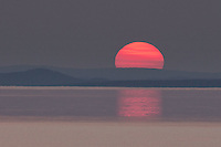 Lake Superior sunset, big red ball