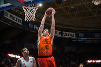 VALENCIA, SPAIN - FEBRUARY 28: Justin Hamilton during ENDESA LEAGUE match between Valencia Basket Club and Real Madrid at Fonteta Stadium on   February, 2016 in Valencia, Spain