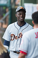 AFL East outfielder Daz Cameron (13), of the Mesa Solar Sox and Detroit Tigers organization, in the dugout during the Arizona Fall League Fall Stars game at Surprise Stadium on November 3, 2018 in Surprise, Arizona. The AFL West defeated the AFL East 7-6 . (Zachary Lucy/Four Seam Images)