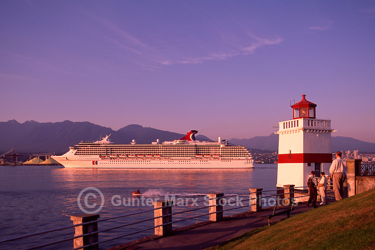 Cruise Ship leaving Vancouver Harbour at Brockton Point and Stanley Park Seawall, Vancouver, British Columbia, Canada, en route to Alaska