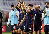 FORT LAUDERDALE, FL - DECEMBER 09: Marco Farfan #15 of the United States celebrates a US victory during a game between El Salvador and USMNT at Inter Miami CF Stadium on December 09, 2020 in Fort Lauderdale, Florida.