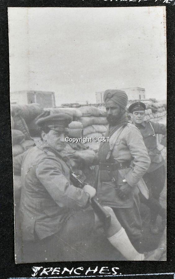 BNPS.co.uk (01202 558833)<br /> Pic: C&T/BNPS<br /> <br /> The album shows troops from all over the Empire.<br /> <br /> Never before seen photos of the disastrous Gallipoli campaign have come to light over a century later.<br /> <br /> The fascinating snaps were taken by Sub Lieutenant Gilbert Speight who served in the Royal Naval Air Service in World War One.<br /> <br /> They feature in his photo album which covers his eventful war, including a later stint in Egypt.<br /> <br /> There are dramatic photos of the Allies landing at X Beach, as well as sobering images of a mass funeral following the death of 17 Brits. Another harrowing image shows bodies lined up in a mass grave.<br /> <br /> The album, which also shows troops during rare moments of relaxation away from the heat of battle, has emerged for sale with C & T Auctions, of Ashford, Kent. It is expected to fetch £1,500.