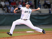 LHP Ryan Kiel (97) of the Pulaski Mariners in a game against the Danville Braves on July 19, 2010, at Calfee Park in Pulaski, Va. Photo by: Tom Priddy/Four Seam Images