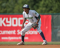 31 July 2016: Vermont Lake Monsters infielder Eric Marinez in action against the Connecticut Tigers at Centennial Field in Burlington, Vermont. The Lake Monsters edged out the Tigers 4-3 in NY Penn League action.  Mandatory Credit: Ed Wolfstein Photo *** RAW (NEF) Image File Available ***