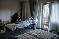 post-stage massage for Jesús Hernández (ESP/Trek-Segafredo) at the Trek-Segafredo hotel<br /> <br /> Stage 15: Valdengo › Bergamo (199km)<br /> 100th Giro d'Italia 2017