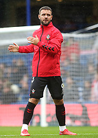 Adam Armstrong of Southampton warms up ahead of kick off during Chelsea vs Southampton, Premier League Football at Stamford Bridge on 2nd October 2021