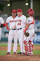 Harrisburg Senators manager Matthew LeCroy (24) makes a pitching change as first baseman Jose Marmolejos (3) and catcher Raudy Read look on during a game against the Bowie Baysox on May 16, 2017 at FNB Field in Harrisburg, Pennsylvania.  Bowie defeated Harrisburg 6-4.  (Mike Janes/Four Seam Images)