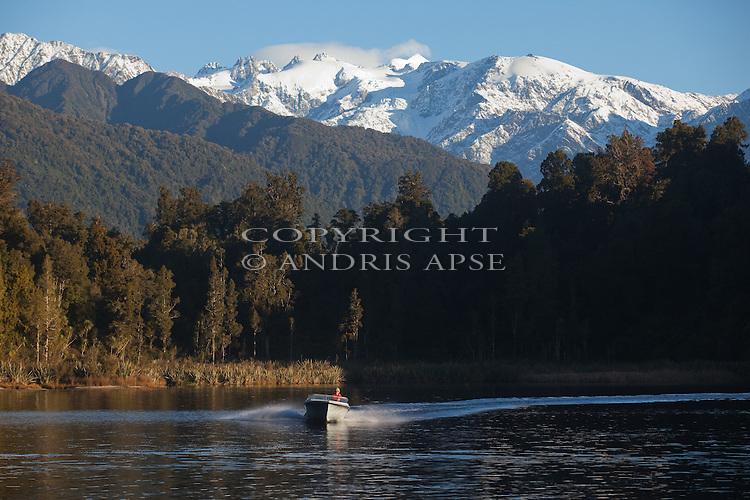 Jet boat on Lake Mapourika. Westland Region. New Zealand.