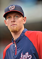 24 July 2012: Washington Nationals pitcher Stephen Strasburg watches from the dugout prior to a game against the New York Mets at Citi Field in Flushing, NY. The Nationals defeated the Mets 5-2 to take the second game of their 3-game series. Mandatory Credit: Ed Wolfstein Photo
