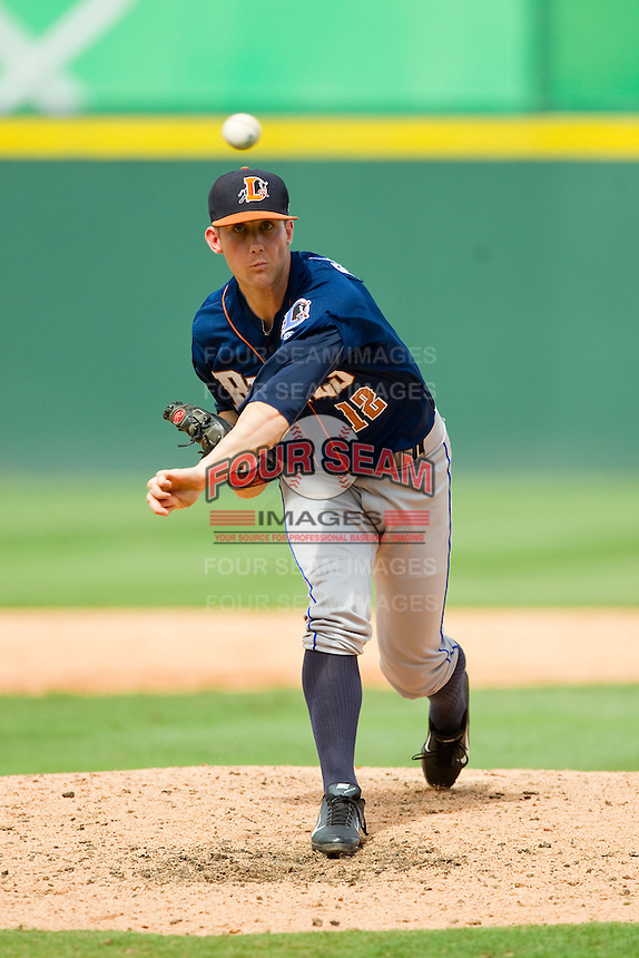 Durham Bulls relief pitcher Jeff Beliveau (12) in action against the Charlotte Knights at Knights Stadium on August 18, 2013 in Fort Mill, South Carolina.  The Bulls defeated the Knights 8-5 in Game One of a double-header.  (Brian Westerholt/Four Seam Images)