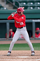 Left fielder Nolan Clegg (20) of the Ohio State Buckeyes bats in a game against the Illinois Fighting Illini on Friday, March 5, 2021, at Fluor Field at the West End in Greenville, South Carolina. (Tom Priddy/Four Seam Images)