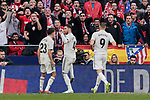 Real Madrid's Sergio Reguilon (L) and Sergio Ramos (R) celebrate goal during La Liga match between Atletico de Madrid and Real Madrid at Wanda Metropolitano Stadium in Madrid, Spain. February 09, 2019. (ALTERPHOTOS/A. Perez Meca)